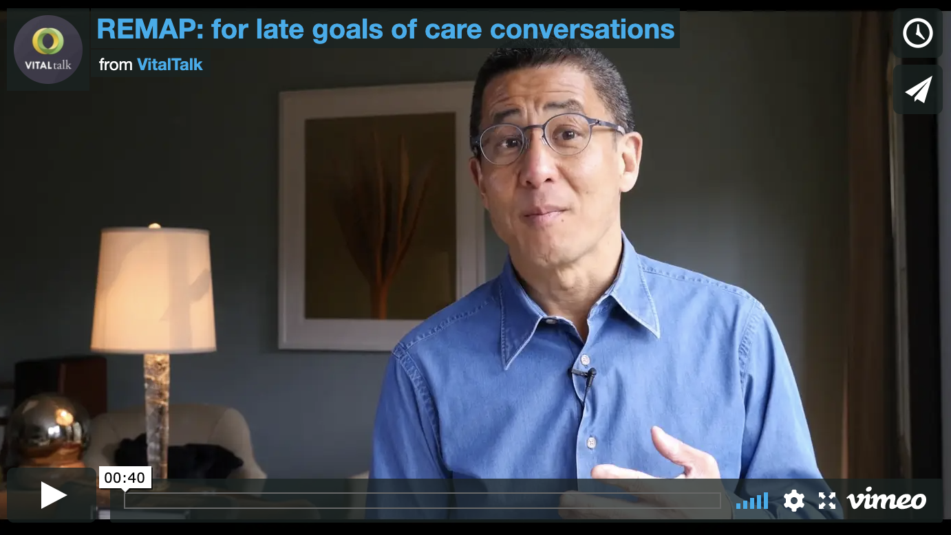 What helps in a late goals of care conversation?
